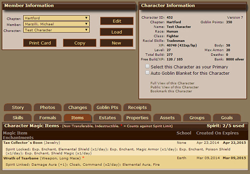Character Editor, Character Magic Items